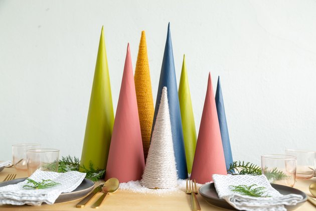 Christmas tree centerpiece using cardboard cones DIY
