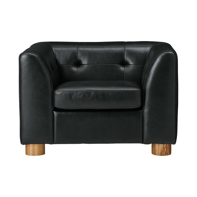 CB2 x GQ Kotka Tufted Black Leather Chair