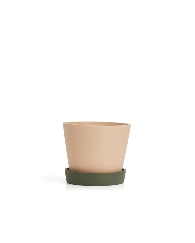 plant pot with green saucer