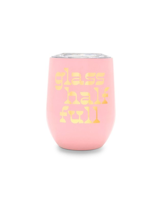 pink steel cup with gold text