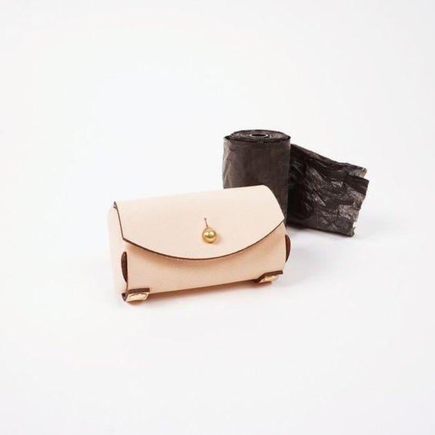 natural leather pet waste bag holder