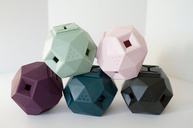 geometric treat dispensing dog toy