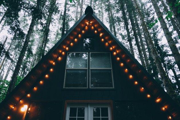 warm Christmas Light Ideas on a-frame cabin