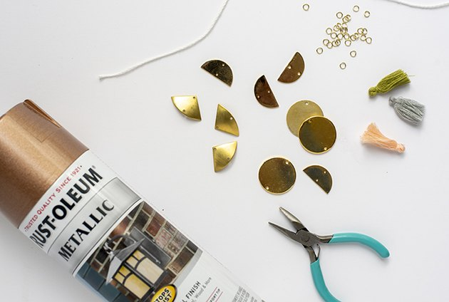 supplies for DIY Rose Gold Metal Shape Ornaments