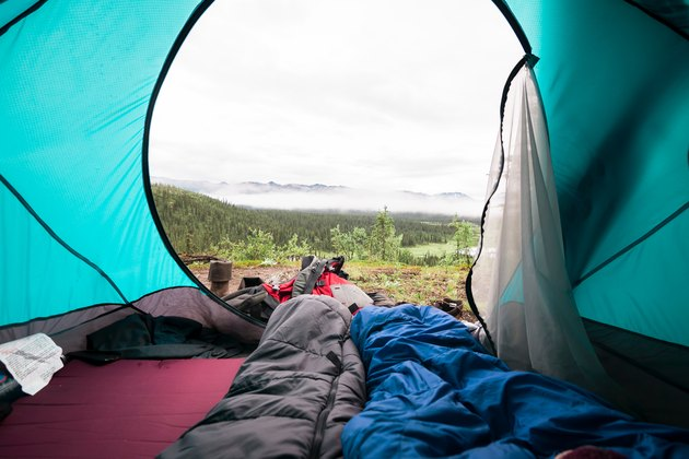 natural view from inside a blue tent