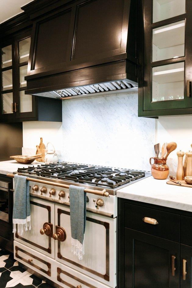 Beautiful vintage stove with marble backsplash