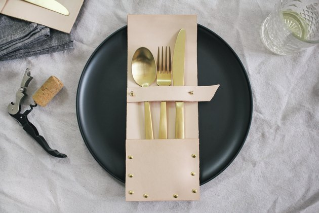 DIY leather flatware pocket