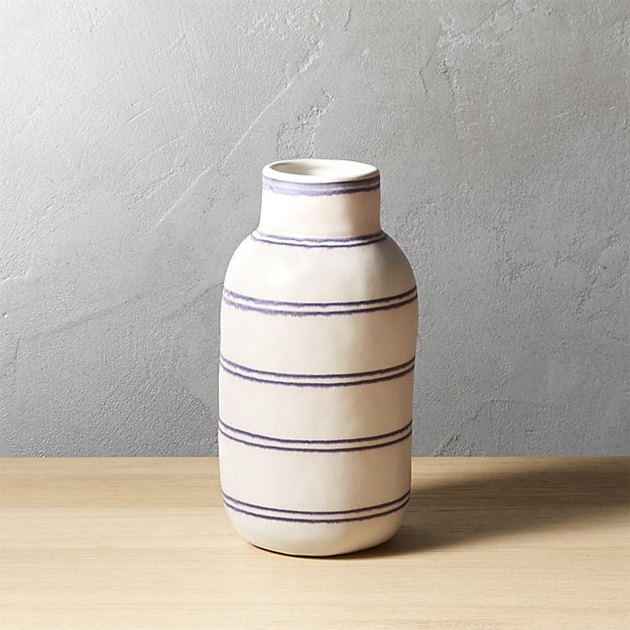 purple striped stoneware vase