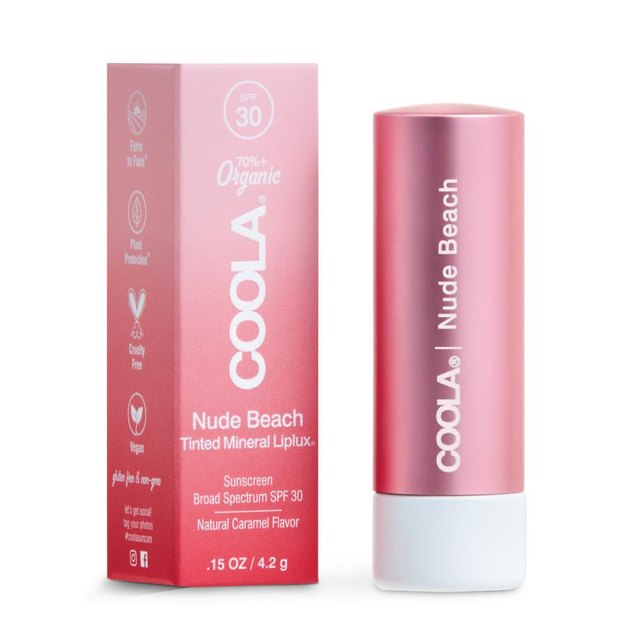Coola's Mineral Liplux Tinted Lip Balm in nude beach