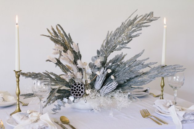 Metallic silver modern holiday centerpiece