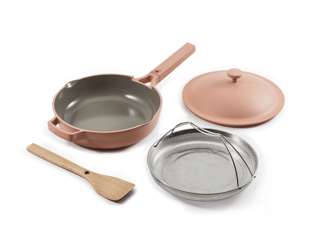 ceramic cookware set with one pan and lid from Our Place