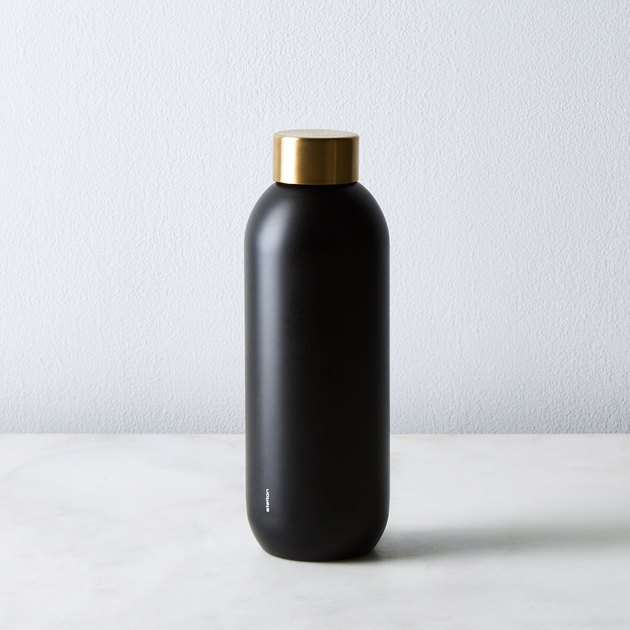 Stelton Brass and Stainless Steel Water Bottle, $35