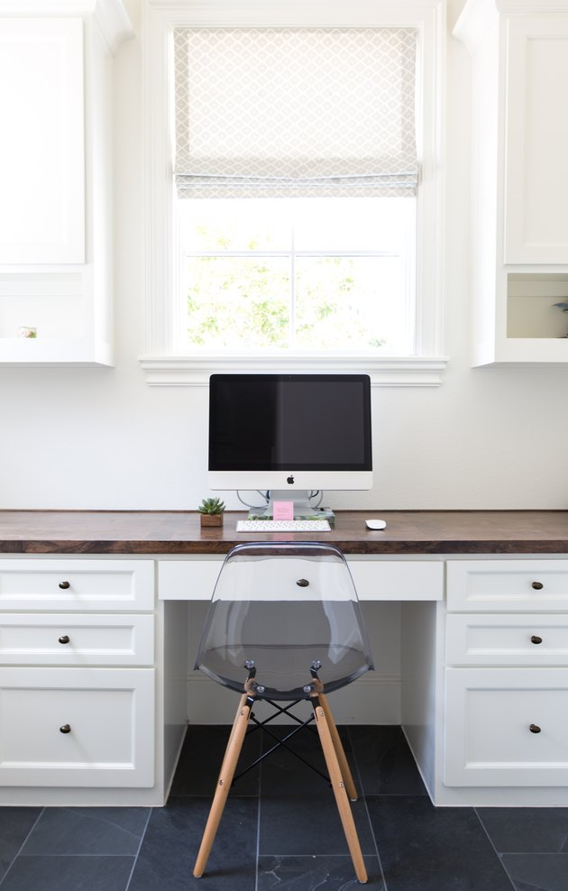 white home office idea with computer on desk