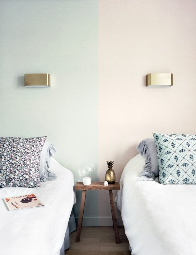 Pale pink and mint walls