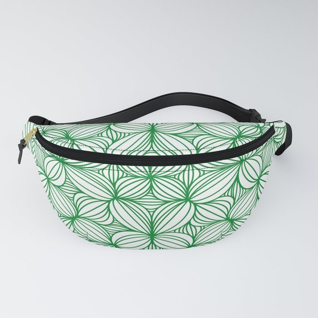 fanny pack with green leaf pattern