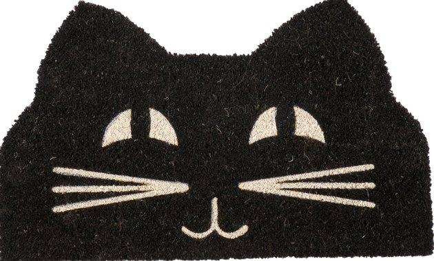 Black cat cutout doormat