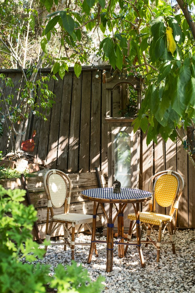 Two chairs sit on the farmstead property at Kawalek and Navarro's home