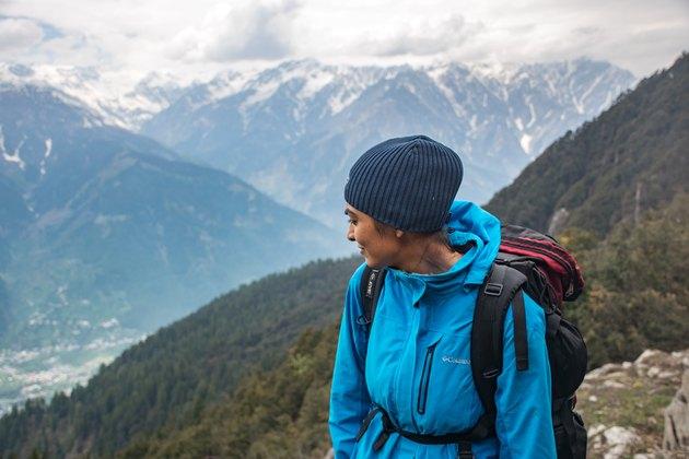 person near mountains