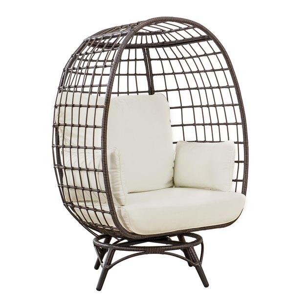 Swivel rattan egg chair