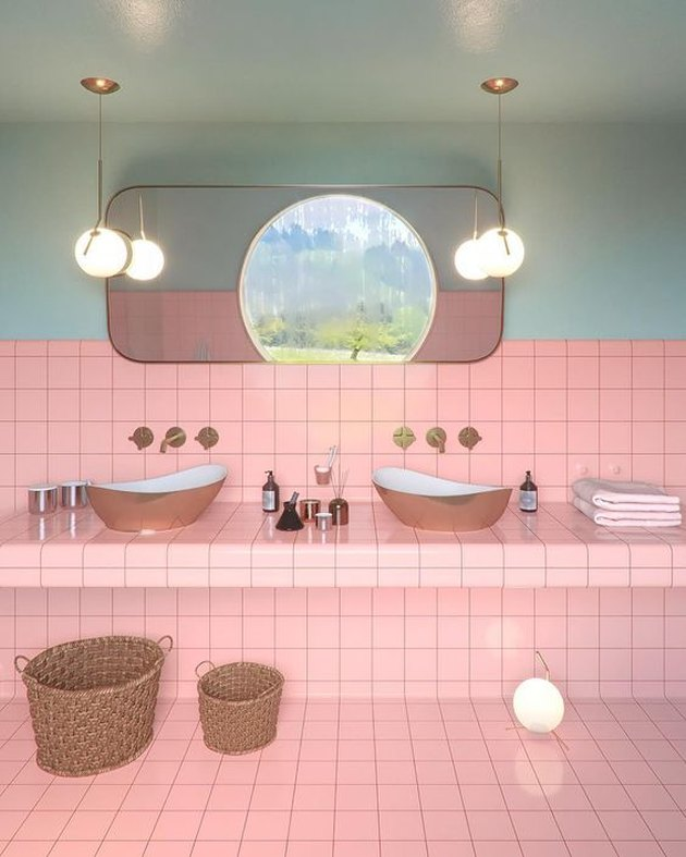 pink tile bathroom countertops with mint walls and pendant lighting