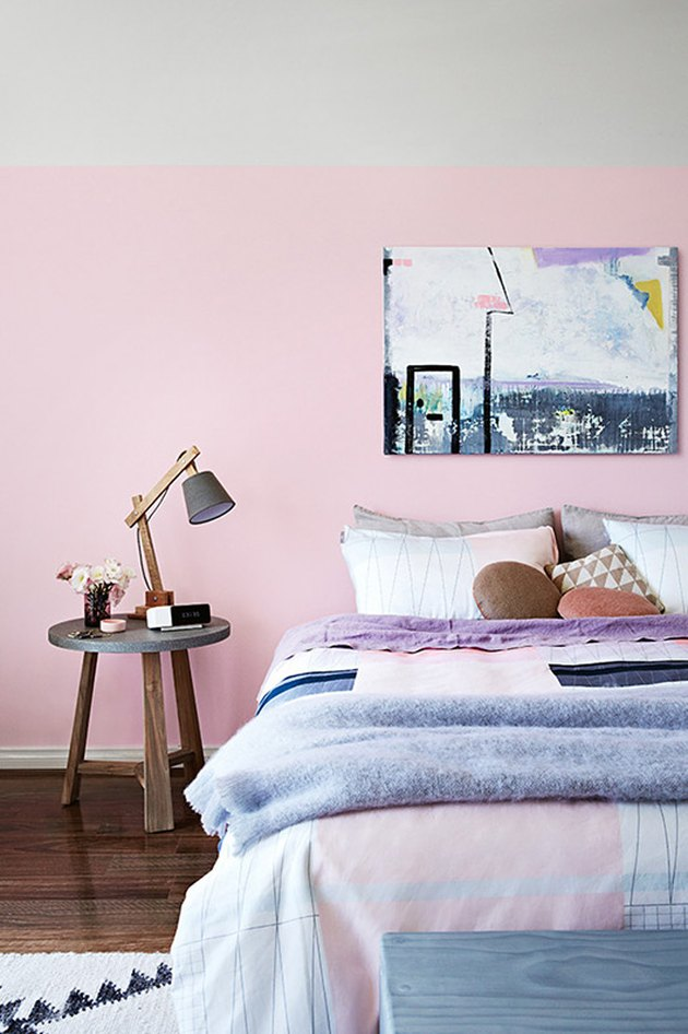 A pink and gray colorblocked wall