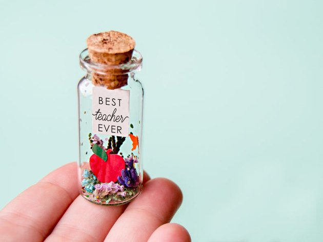 personalized teacher gift with message in a small bottle
