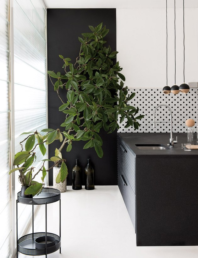 black and white kitchen with patterned tile backsplash