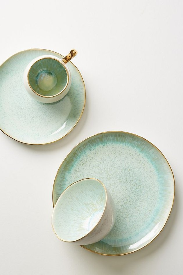 anthropologie gold trim plates