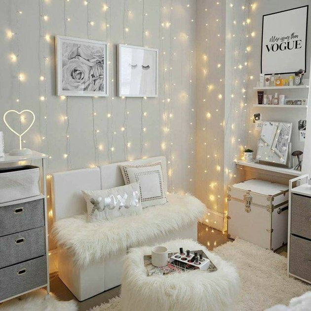 bedroom curtain lights string lighting