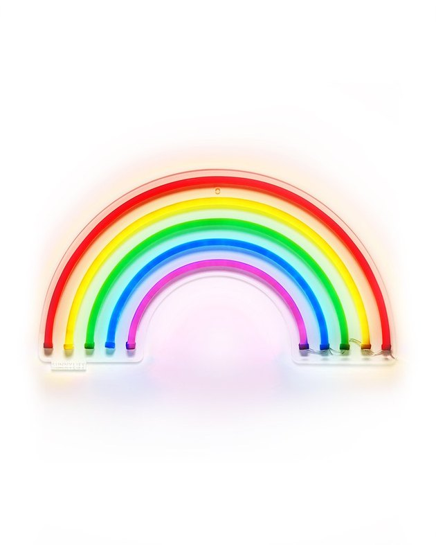 Neon rainbow wall sign