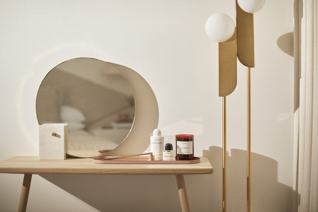 modern vanity and west elm lamps