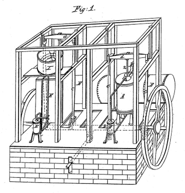 Schematic of Dr. John Gorrie's ice cooling machine, c. 1851