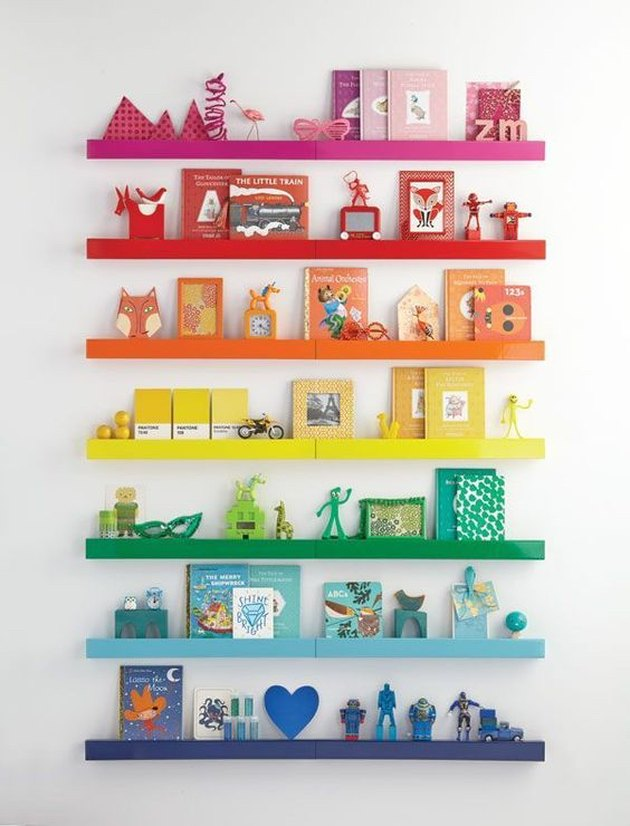 colorful wall ledges with toys