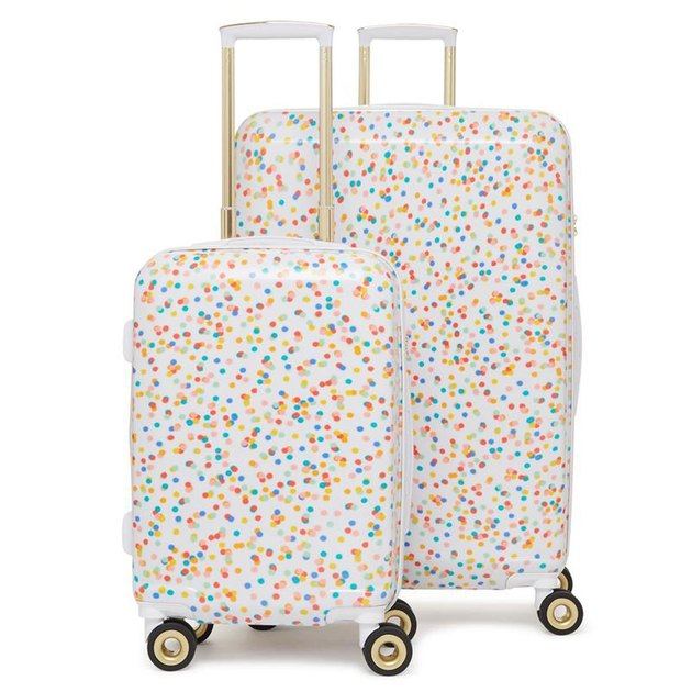rainbow speckled luggage