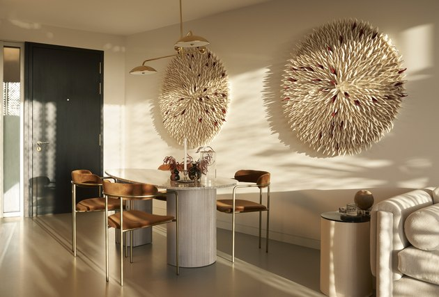 modern dining room with curved furniture