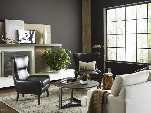 sherwin-williams Urbane Bronze paint on walls in living room with chairs, sofa, and coffee table