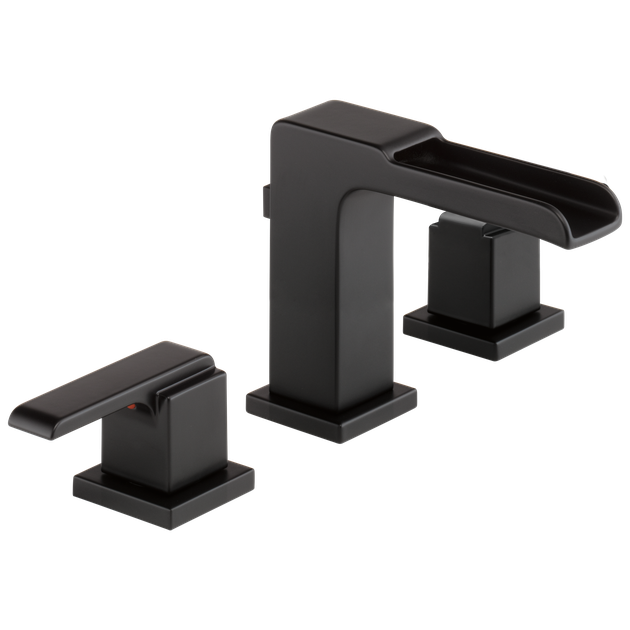 Delta Ara Two Handle Widespread Channel Bathroom Faucet in Matte Black