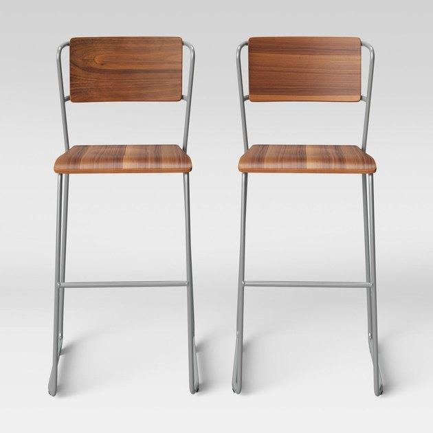 wood and metal barstool set