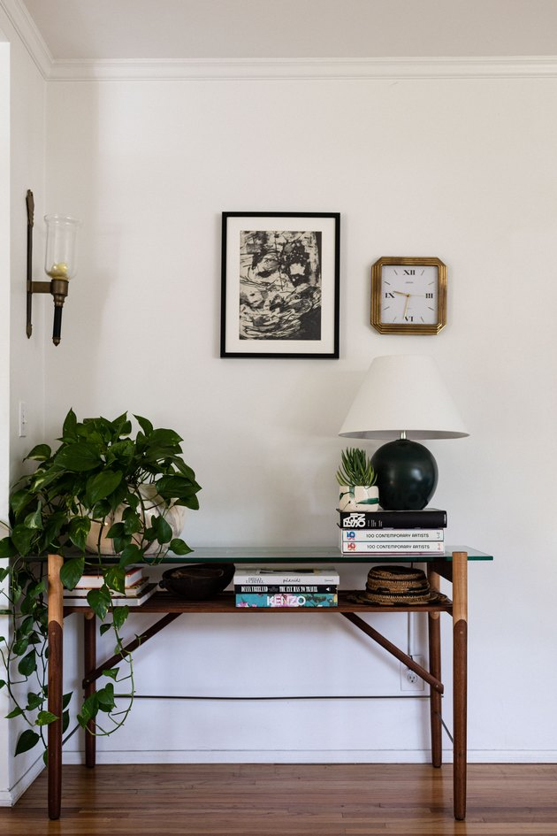 Entryway table with plant