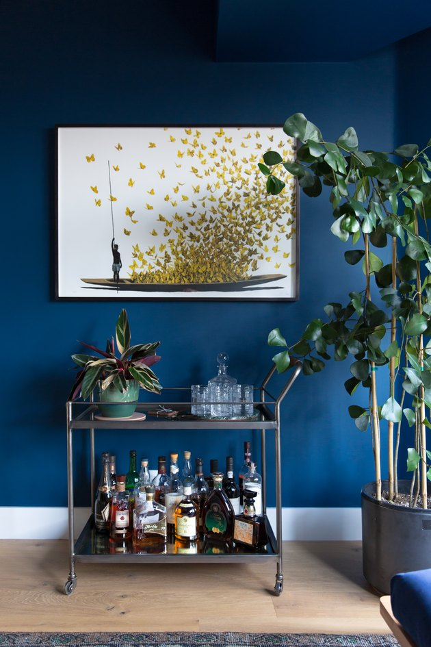 blue office with bar cart