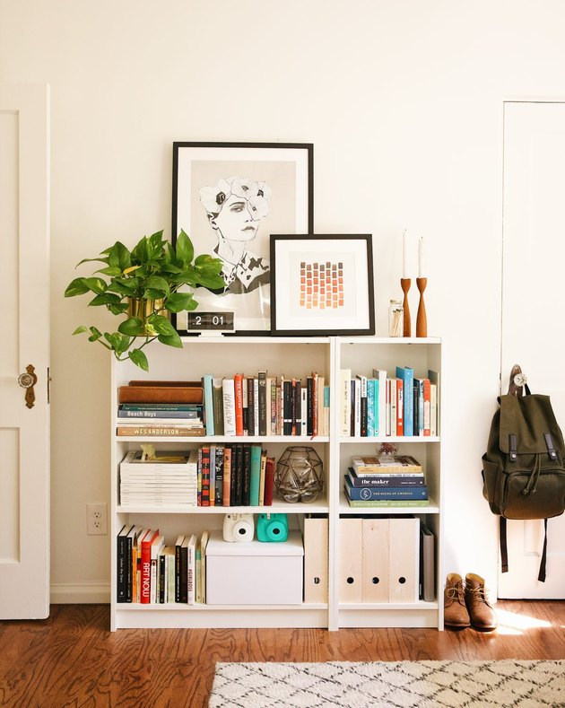 contemporary office with shelving