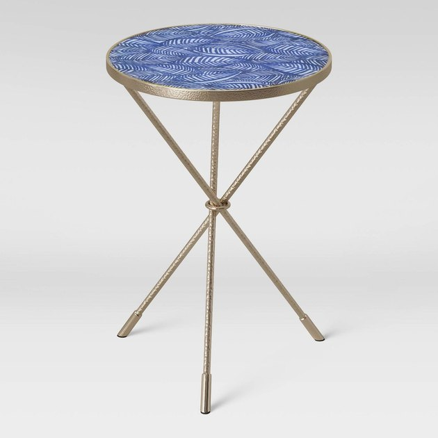 blue pattern end table
