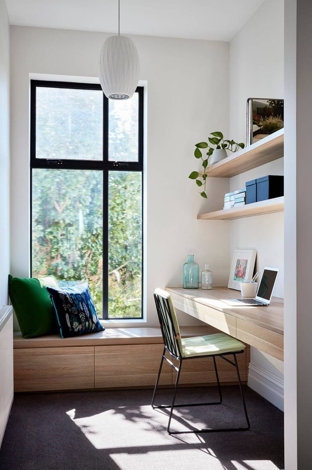 small Contemporary Office space with window bench