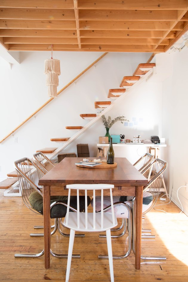 wood floating stairs for small space near dining room