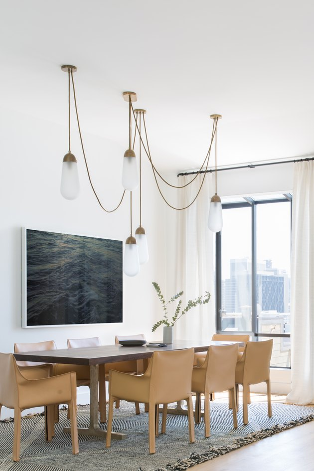 dining room with leather chairs