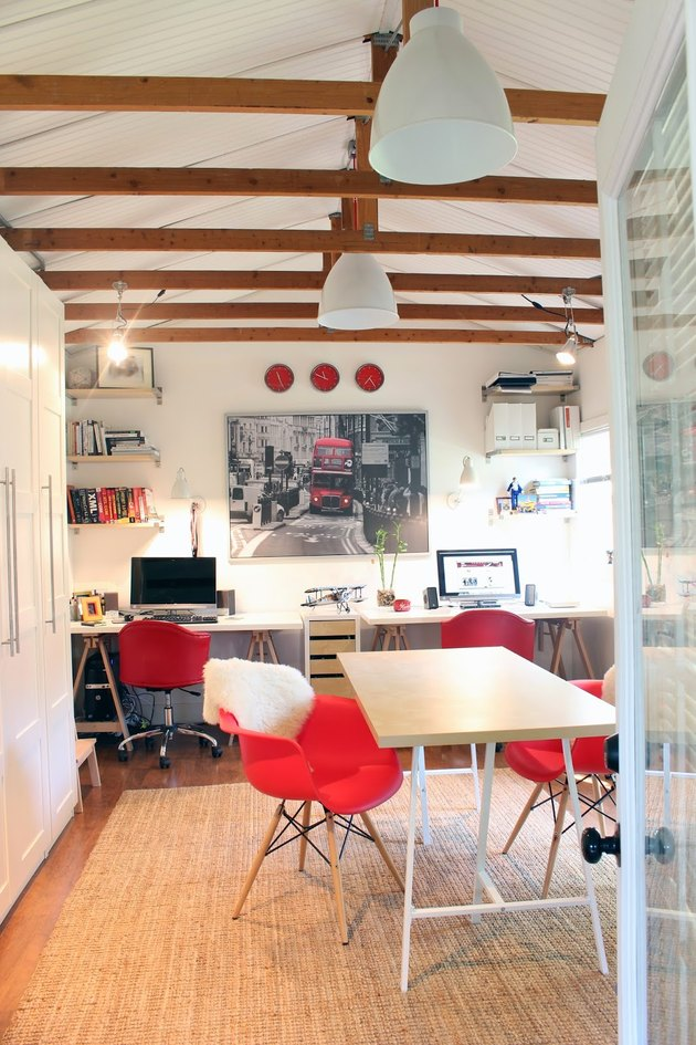 Small Garage Ideas as a Home office with exposed beams and desks