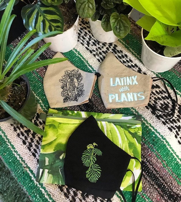 view of textile with plants and face masks