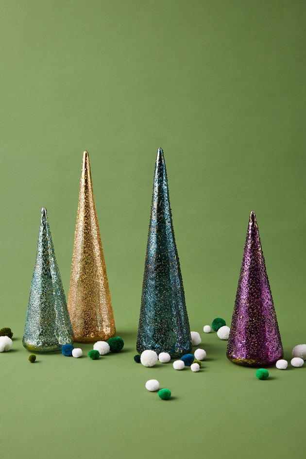 four holiday glass trees