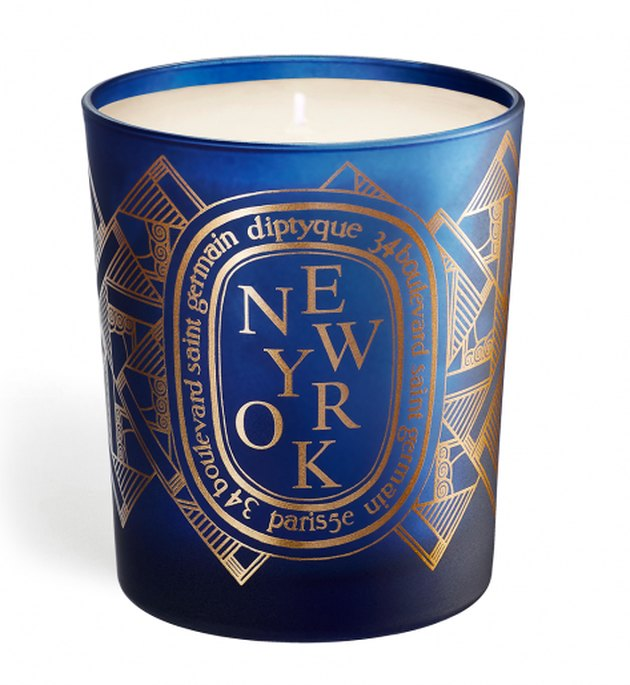 blue candle with new york text