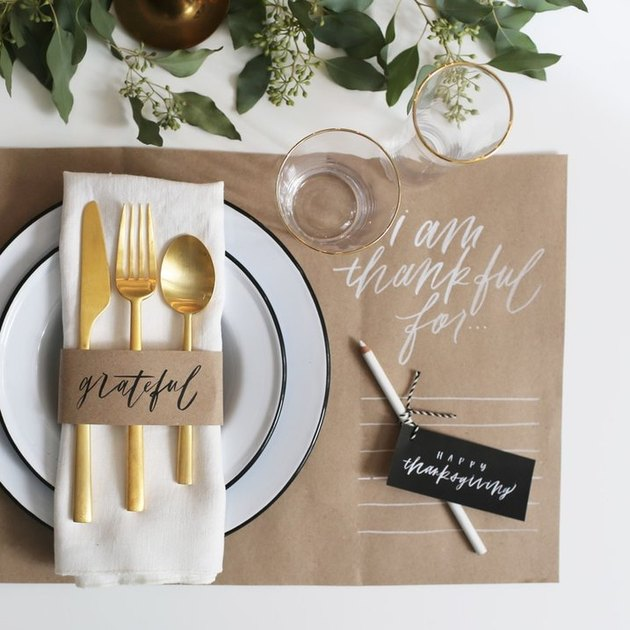 Thanksgiving inspired DIY place mats for dinner party